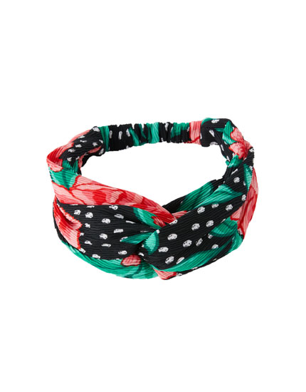 Floral and polka dot bandanna