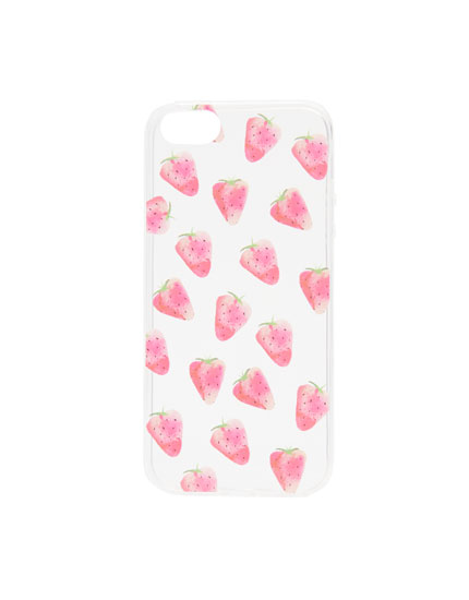 Transparent strawberry smartphone case