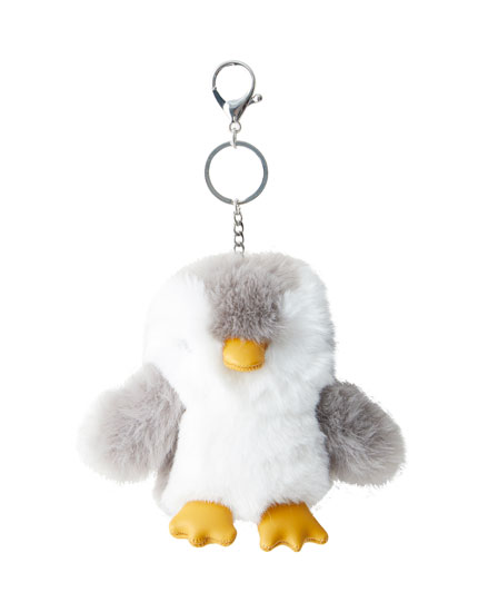 Fluffy penguin key ring