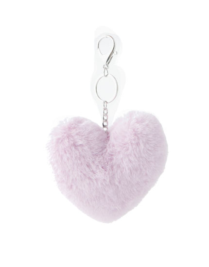 Fluffy heart key ring