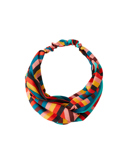 Multicoloured stripe print bandanna