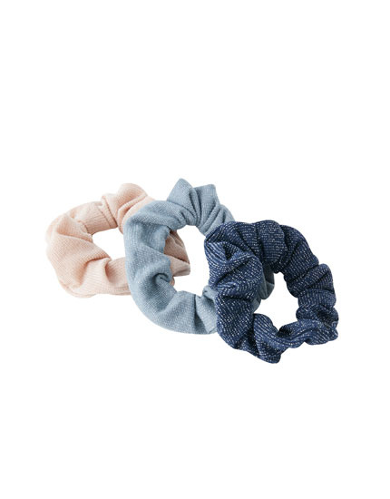 Pack de 3 scrunchies com brilho