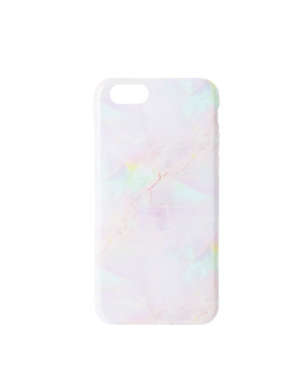 Rainbow marble-effect phone case