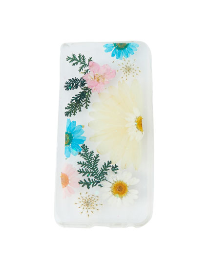Glitter and flower print smartphone case