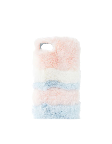 Furry striped smartphone case