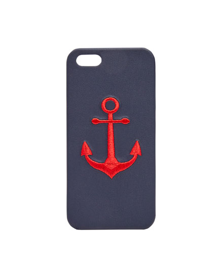 Embroidered anchor smartphone case