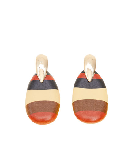 Tribal-style wooden earrings