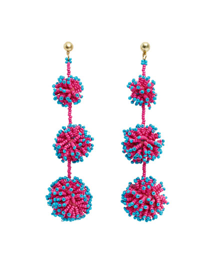 Triple pompom earrings