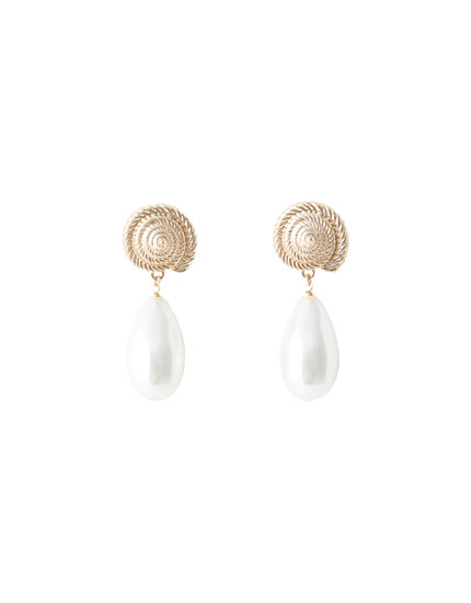 Faux pearl and shell earrings