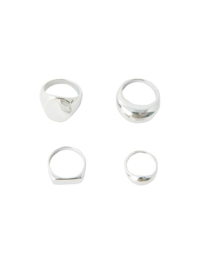Pack of 4 signet rings