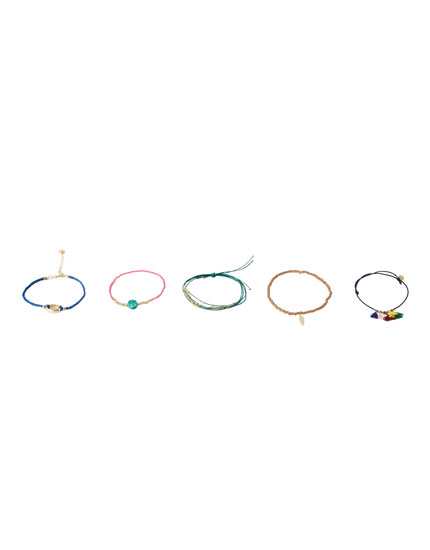5-pack of bead and shell bracelets