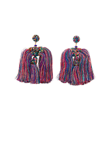 Multicoloured fringe earrings