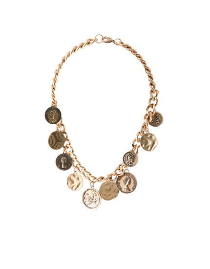 Necklace with coin charms
