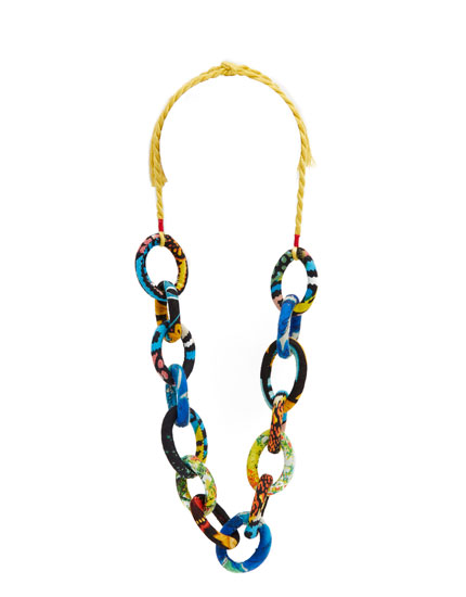 Fabric-lined link necklace