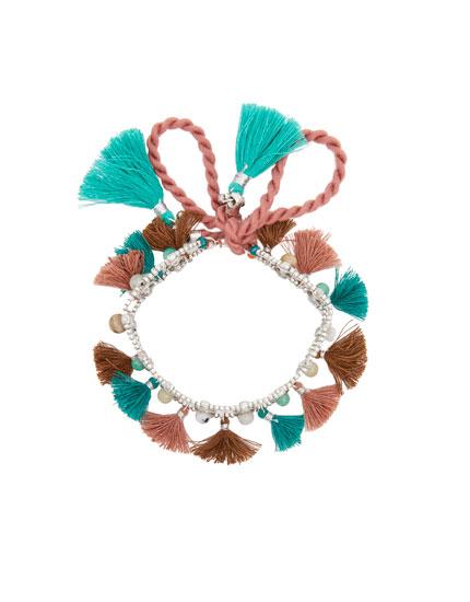 Bracelet cheville pompons