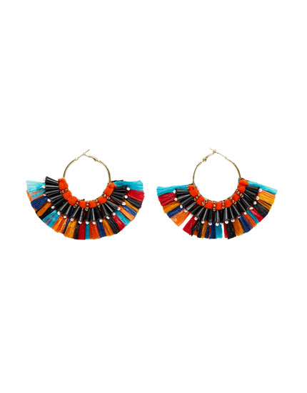 Multicoloured raffia hoop earrings