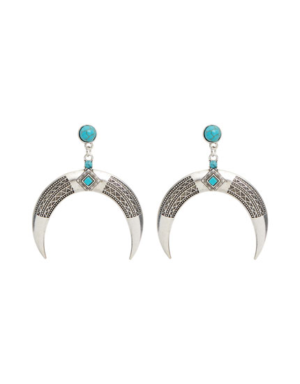 Silver-coloured half-moon earrings
