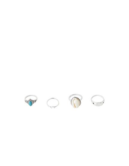 4-pak ringen met steentje