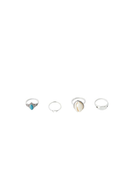Pack of 4 stone rings