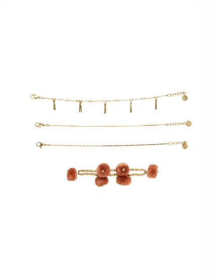 6-pack of pompom bracelets