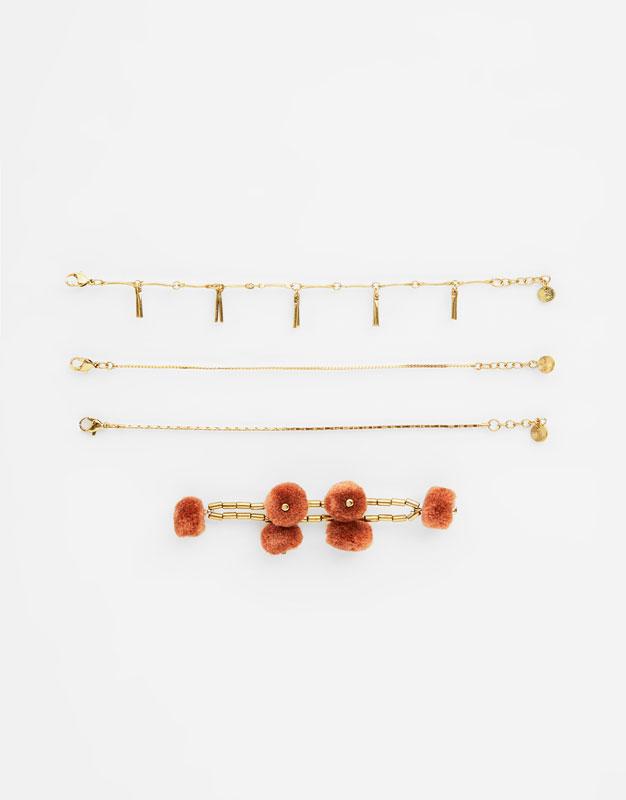 6 Pack Of Pompom Bracelets by Pull & Bear