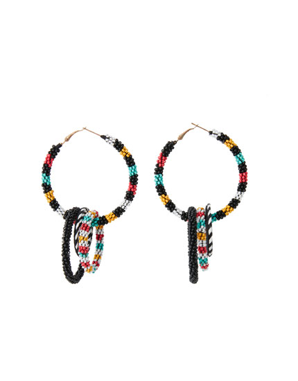 Tribal print hoop earrings