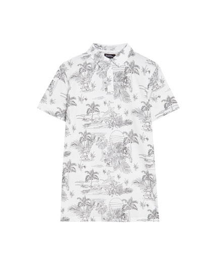 Kurzarm-Poloshirt mit All-Over-Print