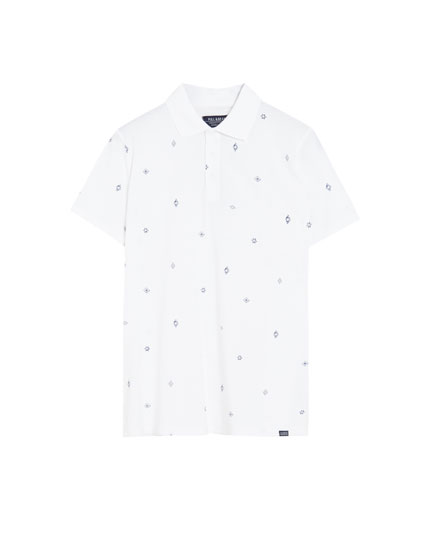 White cotton polo shirt with micro print