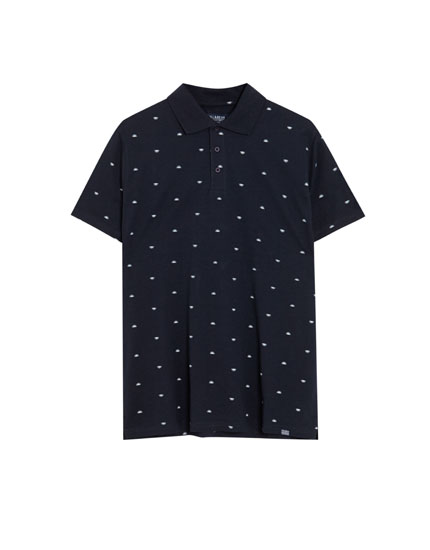 Navy cotton polo shirt with micro print