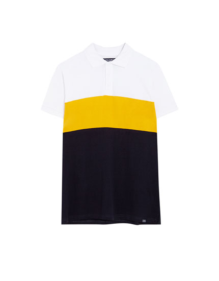 Short sleeve panelled polo shirt