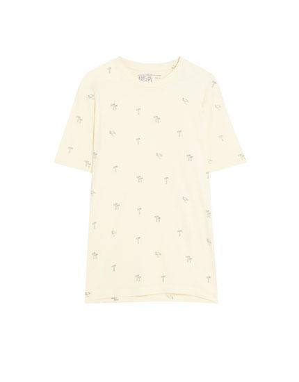 Tricou cu mânecă scurtă și imprimeu mărunt