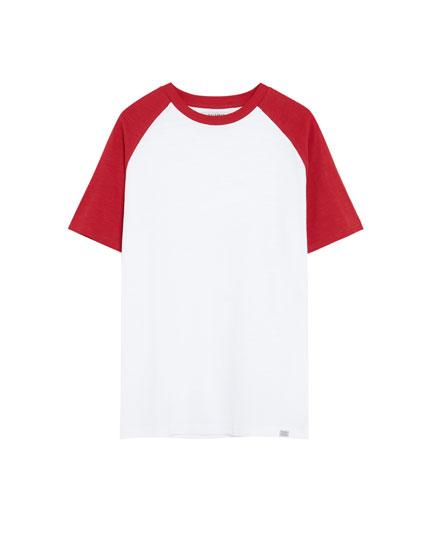 Kontrast kollu alacalı Join Life t-shirt