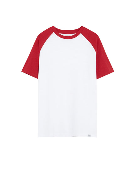 Join Life slub knit T-shirt with contrasting sleeves