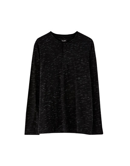 Long sleeve slub knit T-shirt