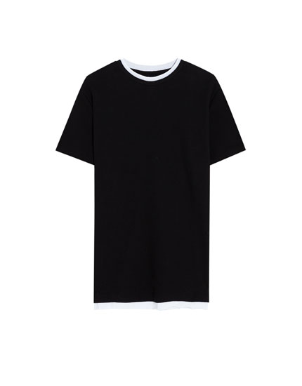 Kontrast yaka t-shirt