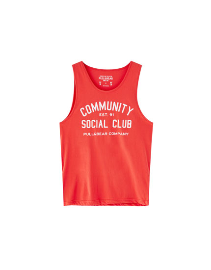 'Community Social Club' print vest top