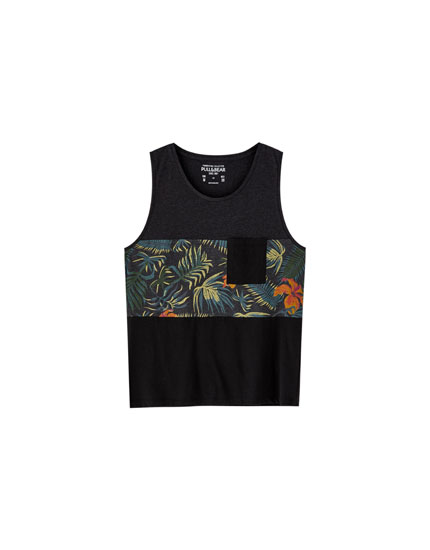 Vest top with floral print panel and chest pocket