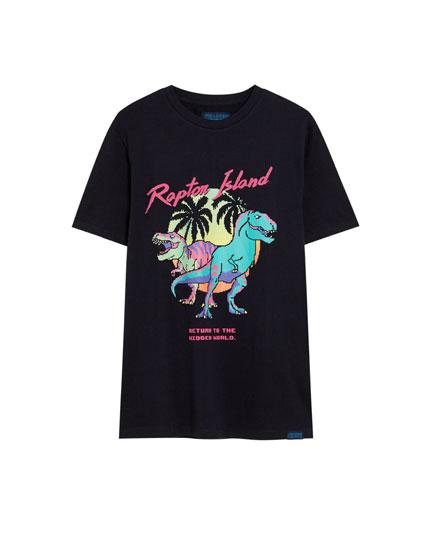 Puff dinosaur print T-shirt