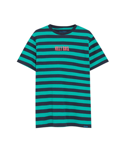 Striped cotton T-shirt with embroidery
