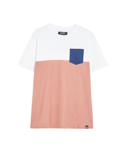 Short sleeve T-shirt with panels and stripes