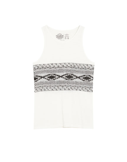 Sleeveless jacquard panel T-shirt