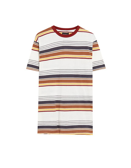 Multicoloured surf stripe T-shirt