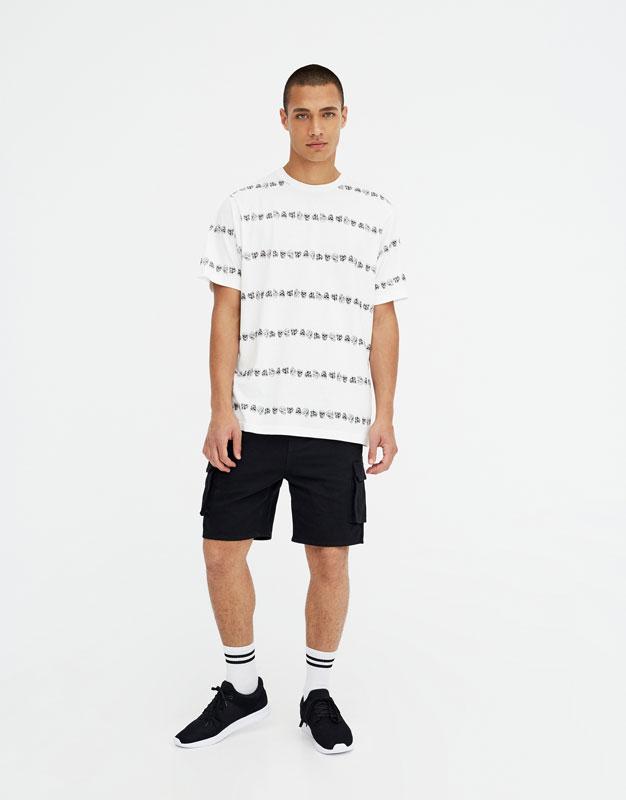 Pull & Bear - Shirt mit Streifen und Totenköpfen - 2