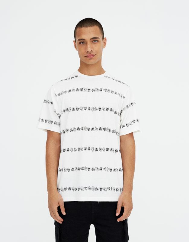 Pull & Bear - Shirt mit Streifen und Totenköpfen - 5