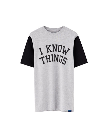 Slogan T-shirt with contrasting sleeves