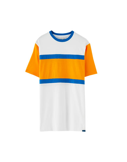 T-shirt bande color block