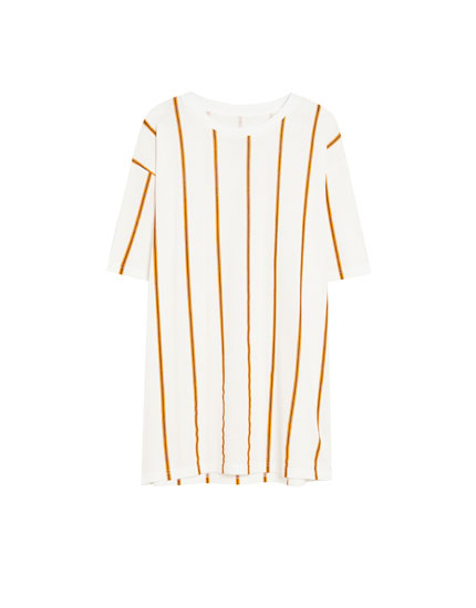 Piqué T-shirt with orange vertical stripes