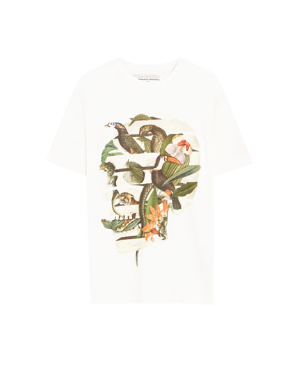 Toucan and snake print T-shirt