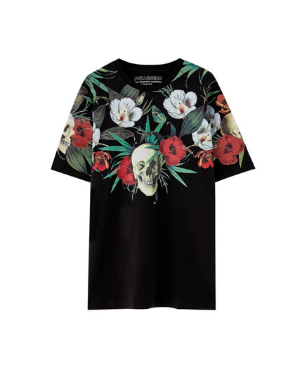 Skulls and flowers print T-shirt
