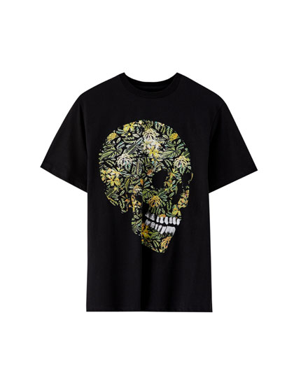 Tropical skull print T-shirt